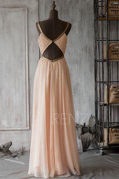2015 Peach Bridesmaid DressBlush Prom DressChiffon por RenzRags