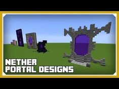 Minecraft: How To Build Nether Portal Designs Tutorial (Survival Minecraft Building) Minecraft Portal, Minecraft Shops, Minecraft Banners, Minecraft Medieval, Minecraft Decorations, Minecraft Creations, Minecraft Crafts, Minecraft Designs, Minecraft Pe