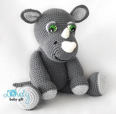 Rob the rhino amigurumi crochet pattern by Lovely Baby Gift