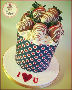 Strawberry Valentines Cake  by Cutsie Cupcakes