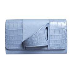 Perrin Paris L'Asymétrique ($3,500) ❤ liked on Polyvore featuring bags, handbags, clutches, light blue, light blue handbag, blue clutches, croco embossed handbags, light blue purse and blue handbags