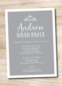 Typographic Modern Baptism Invitation / Christening Invitation / Communion Invitation - Printable Digital File by PaperHeartCompany on Etsy
