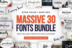 HUMONGOUS Font Bundle (30 Fonts with Extended License) - only 29!