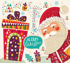 Christmas Illustration with Funny Santa Claus - Christmas Seasons/Holidays