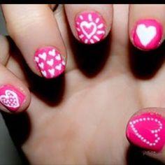 v-day heart nails