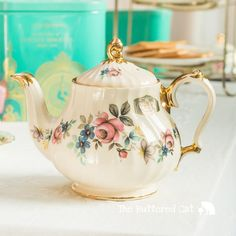 Pretty floral fluted round teapot lovely for by TheButteredCat