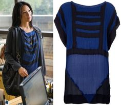Elementary Joan Watson Lucy Blue and Black Dress Tunic Top Elementary Fashion: Solve For X