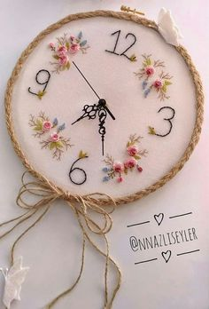 floral embroidery Embroidered clock for craft room Embroidery Hoop Crafts, Floral Embroidery Patterns, Hand Embroidery Videos, Creative Embroidery, Learn Embroidery, Hand Embroidery Patterns, Ribbon Embroidery, Cross Stitch Embroidery, Embroidery Works