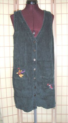 Authentic Disney Pooh Bear Green Corduroy Jumper Shift Dress W/ Pockets #Disney