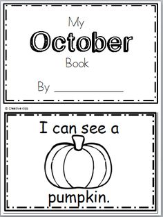 "Free October Book for Kindergarten Practice reading the words ""I see a…"" There are 10 pages in this October book.  You can print and use all the pages or just the ones that you pr…"