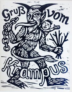 Hand Printed, Hand Pressed Krampus Postcard Text reads Greetings from The Krampus. Front printed with a hand carved Krampus linocut and verso printed with lead type on heavyweight chipboard. Printed on an 1909 Chandler & Price Letterpress. German Christmas Traditions, Retro Christmas Decorations, Demonology, Les Sentiments, Nightmare Before Christmas, Holiday Fun, Holiday Cards, Letterpress, Printmaking