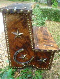 Cowhide Step Stool - Western Decor by Signature Cowboy Studio