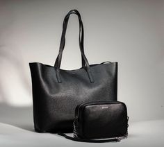 In picture Estelle shopper and Eloise camera bag. Calf Leather, Leather Bag, Timeless Design, Black Silver, Calves, Pouch, Product Launch, Tote Bag, Stylish