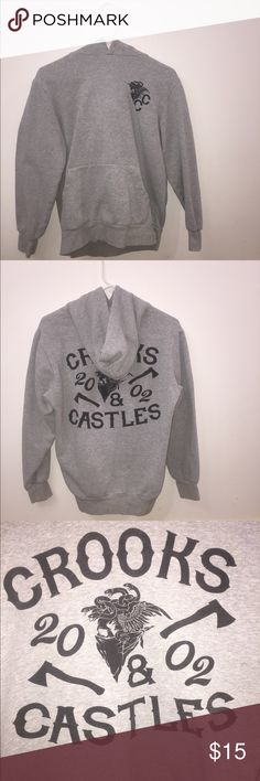 Crooks and Castles Hoodie This is a Crooks and Castles gray hoodie. There are no stains, but is missing the drawstring. This is a woman's medium and even though I loved how comfy it was, I outgrew it. Crooks and Castles Tops Sweatshirts & Hoodies Crooks And Castles, Grey Hoodie, Hoodies, Sweatshirts, Stains, Graphic Sweatshirt, Comfy, Gray, Medium