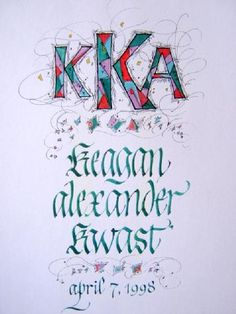 Birth or birthday announcement, illuminated lettering calligraphy