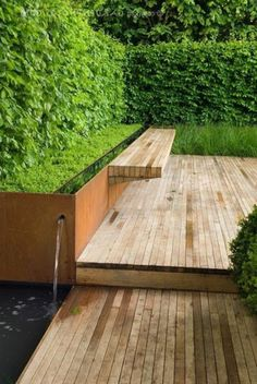 Inspirational Wasserspiel eingebaute Bank Wasserspiel eine gr ne Hecke puristischer Garten