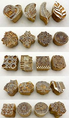 Hand Carved Wooden Block Printed Indian Stamps - Wood Printing Stamping Supplies: