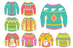 Christmas Ugly Sweaters Clipart by Julia_Sunrain on Creative Market