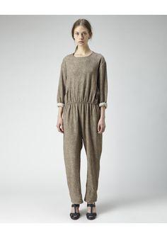 Olivia Jumpsuit by A Détacher.  Slouchy gauze jumpsuit with dropped shoulders, concealed back zip & gathered, elastic waist. Worn with / A Détacher Hillary T-Strap Sandal.
