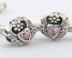 CLXS128A 925 Sterling Silver Love Heart Pink Crystal Pandora Charms beads on sale,for Cheap,wholesale