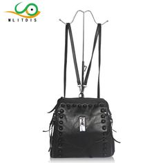 MLITDIS 2017 autumn and winter new style of leather and leather stitching shoulders the internal black lady Backpack