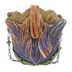 Mary Frances Tempting Tulip Purple Pastel Flower Beaded Handbag Purse Bag New | eBay