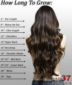 measure your hair see how long it is! if you want your hair to grow longer i have some great easy tips for you! tips~ 1. try to avoid heat 2.dont wash your hair everyday wash it about 2-3 times a week 3. get a trim every 5 weeks or every 2 months to eliminate split ends 4. don't put a lot of products in your hair 5. use a minimal amount of shampoo and conditioner 6.dont brush your hair when it is wet that is when your hair is the most fragile and don't towel dry it or put ur hair in a towel.