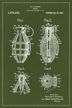 Hand Grenade Invention Patent Art Poster Print 3d Prints, Poster Prints, Blue Prints, Posters Geek, Guitar Posters, Blueprint Art, Patent Drawing, Modelos 3d, Drawing Techniques