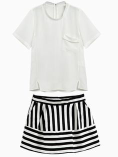 White Chiffon Blouse and Stripes Mini Skirt | Choies