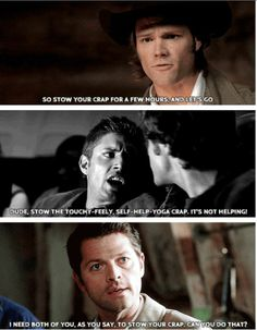 The stuff Cas has learned from Sam and Dean