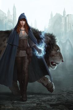 Female wizard sorceress magic user with lion | Create your own roleplaying game books w/ RPG Bard: www.rpgbard.com | Dungeons and Dragons Pathfinder RPG Warhammer 40k Fantasy Star Wars Exalted World of Darkness Dragon Age 13th Age Iron Kingdoms Fate Core Savage Worlds Shadowrun Call of Cthulhu Basic Role Playing Traveller Battletech The One Ring d20 Modern DND ADND PFRPG W40K WFRP COC BRP DCC TOR VTM GURPS science fiction sci-fi horror art creature monster character design