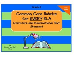 Grade 6  Common Core ELA Rubrics for EVERY Literature and Informational Text Standard.  Use them with any book or informational text.  They make the transition to Common Core so much easier! $4