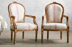 One of a Kind Vintage French Louis XV Grainsack Red Strip Armchairs Pair. FrenchGardenHouse.com