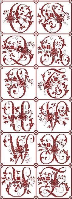 Alphabets - - Cross Stitch Patterns, Kits, Supplies and more! Monogram Cross Stitch, Cross Stitch Alphabet, Halloween Embroidery, Halloween Cross Stitches, Cross Stitch Boards, Cross Stitch Heart, Cross Stitching, Cross Stitch Embroidery, Plastic Canvas Letters
