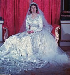 As a bride in 1947, Princess Elizabeth paired Queen Mary's Fringe tiara with her flowing Norman Hartnell gown. The tiara snapped before the wedding, and the court jeweller had to rush in for emergency repairs.