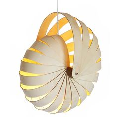Nautilus lampshade by Rebecca Asquith. Inspired by a nautilus seashell. From its flat-packed state, the Nautilus can easily be assembled within minutes to create a stunning feature lampshade. Made inNew Zealand Small: 380mmD x 290mmW x 410mmH  Medium: 445mmD x 390mmW x 505mmH