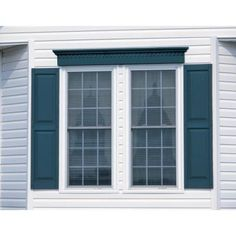 Raised Panel Vinyl Exterior Shutters Pair In 004 Wedgewood Blue
