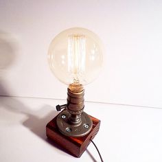Globe style Edison Bulb table lamp in Red Mahogany - Antiqued finished wood base - Steam punk style light - New york loft industrial style
