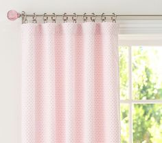 """Curtains: PBK Audrey Chenille Dot Panel in Lt. Pink (hung high, 96""""). Considering adding a deeper pink pom-pom fringe..."""