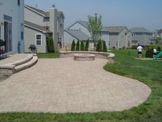 Backyard landscaping We specialize in hardscape design and installation, including outdoor living ar Concrete Patio Designs, Outdoor Patio Designs, Patio Ideas, Stone Patio Designs, Backyard Plan, Hardscape Design, Patio Layout, Outdoor Living, Patio With Firepit