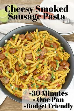 This recipe for Spicy Sausage and Penne Pasta is the perfect week night meal. It's ready in just thirty minutes and is full of cheesy goodness! Spicy Sausage, Sausage Recipes, Pasta Recipes, Noodle Recipes, Frugal Meals, Quick Meals, Easy Dinners, Pasta Dishes, Food Dishes