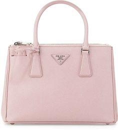 Prada Saffiano Lux Double-Zip Tote Bag, Light Pink (Mughetto)