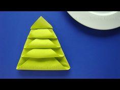 Weihnachtsdeko basteln - Servietten falten Weihnachten: Weihnachtsbaum - YouTube