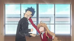 "Toradora, when Ryuuji and Taiga first met. I imagine their future kid asking, ""Daddy, what happened when you first met Mommy?"" ""She punched me in the face"" ""You were blocking the hallway, you dumb mutt!"""
