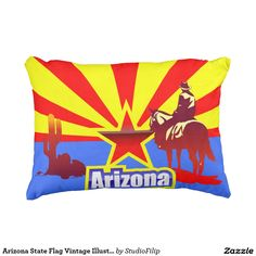 Arizona State Flag Vintage Illustration Outdoor Pillow
