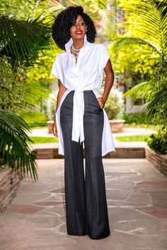 Style Pantry | Tie Front Shirt Tunic + High Waist Wide Legs