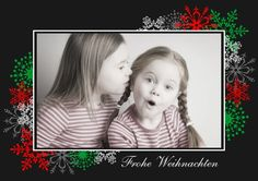 Weihnachtskarte Colored Snowflakes