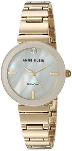 Anne Klein Womens AK2434PMGB DiamondAccented GoldTone Bracelet Watch *** For more information, visit image link.Note:It is affiliate link to Amazon.