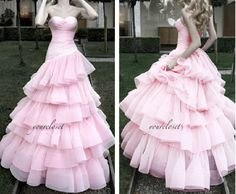 Elegant Strapless Tiered Ball Gown