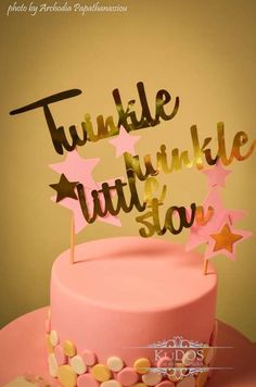 Pink and gold cake at a Twinkle Twinkle Little Star birthday party! See more party ideas at CatchMyParty.com!